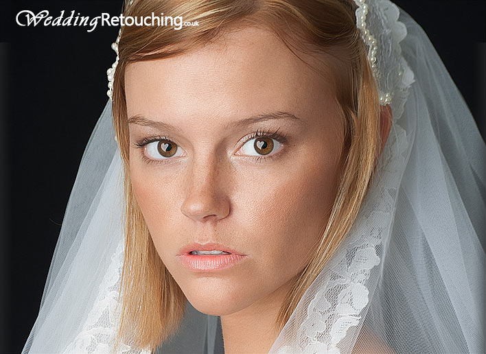 Retouching bride's skin and adding special heart shaped highlights to the eyes after editing