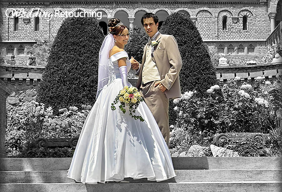 Using colour and black and white to make you the centre of focus in your wedding photos