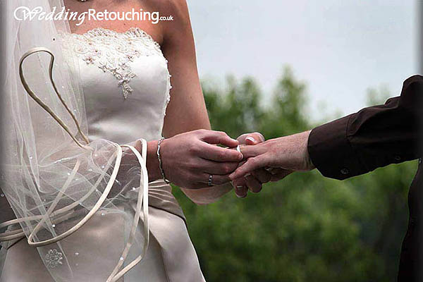 Creating mood in a wedding photo to enhance the shot, before editing