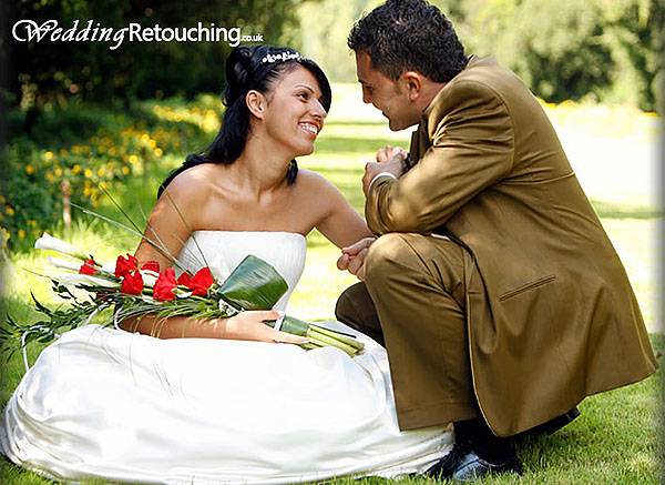Complete wedding retouch, clothes, skin and surrounding areas.